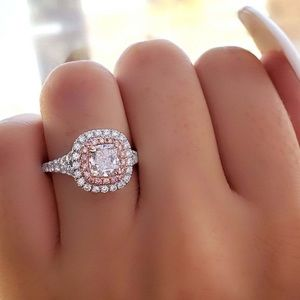 Double White and Pink Sapphire Halo Ring!!! NWT!